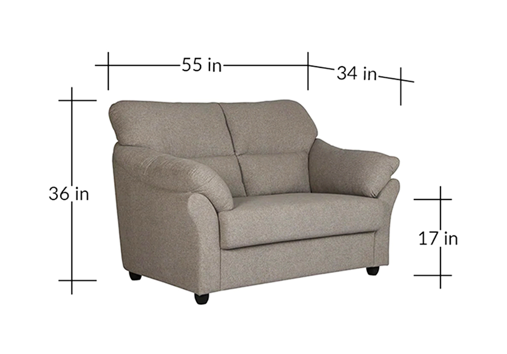 Bangkok Grey Colour Sofa-diamension view