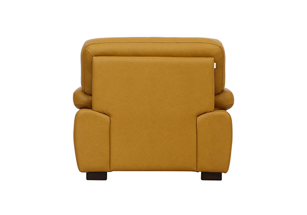 Cosmos single Seater Sofa-back view - Mustered Yellow Letherette