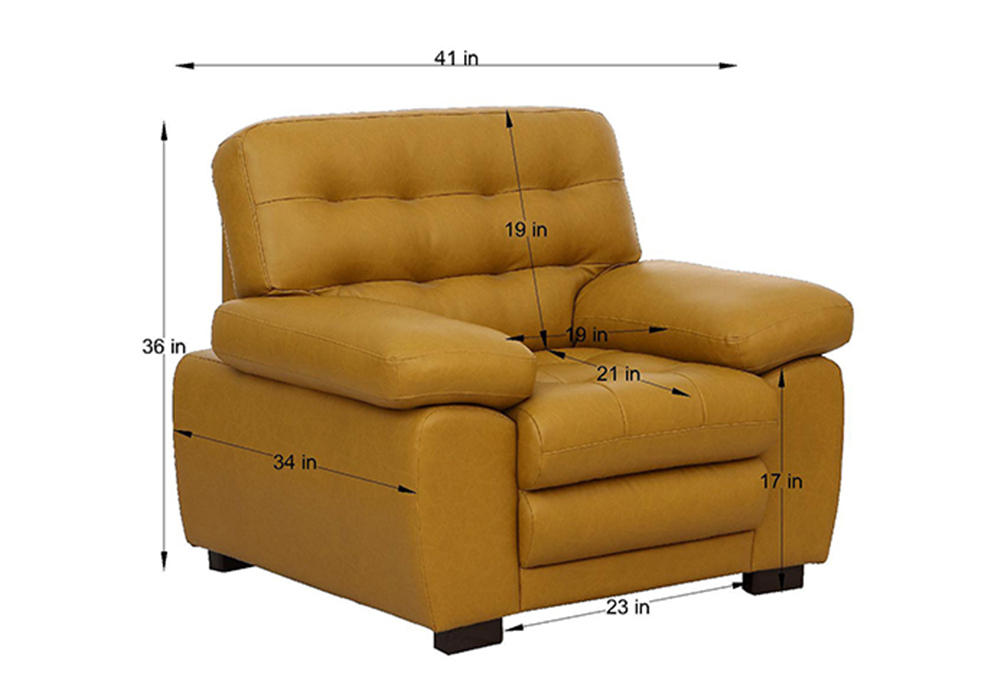 Cosmos single Seater Sofa-dimension - Mustered Yellow Letherette