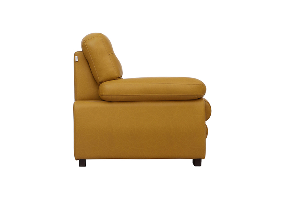 Cosmos single Seater Sofa-side view - Mustered Yellow Letherette