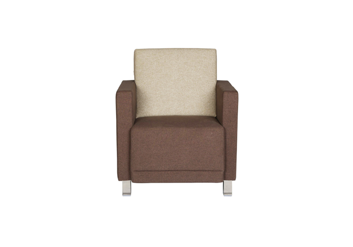 Flora single seater sofa- combination of beige & dark brown colour