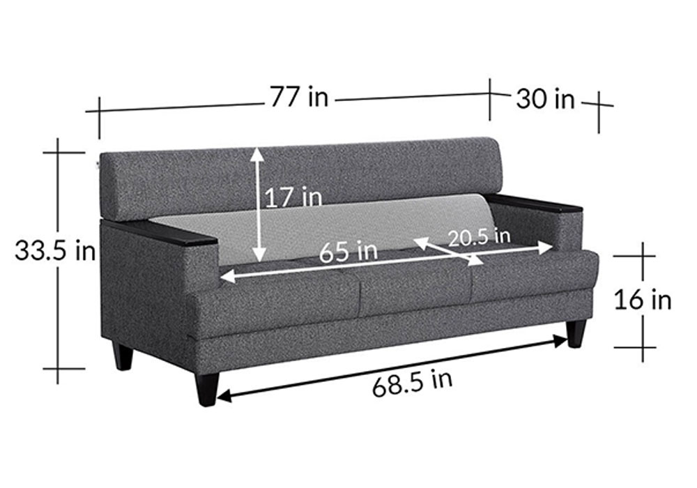 Larch Three Seater Sofa In Dark Stone Grey With Silver Grey Colour-dimensions