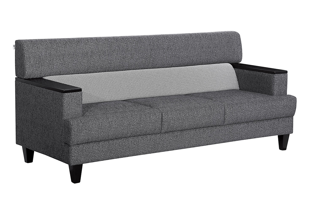 Larch Three Seater Sofa In Dark Stone Grey With Silver Grey Colour-sideview