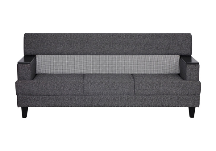 Larch Three Seater Sofa In Dark Stone Grey With Silver Grey Colour