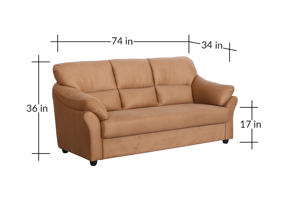 Bangkok Three Seater Brown colour Sofa by Spns (dimentions)