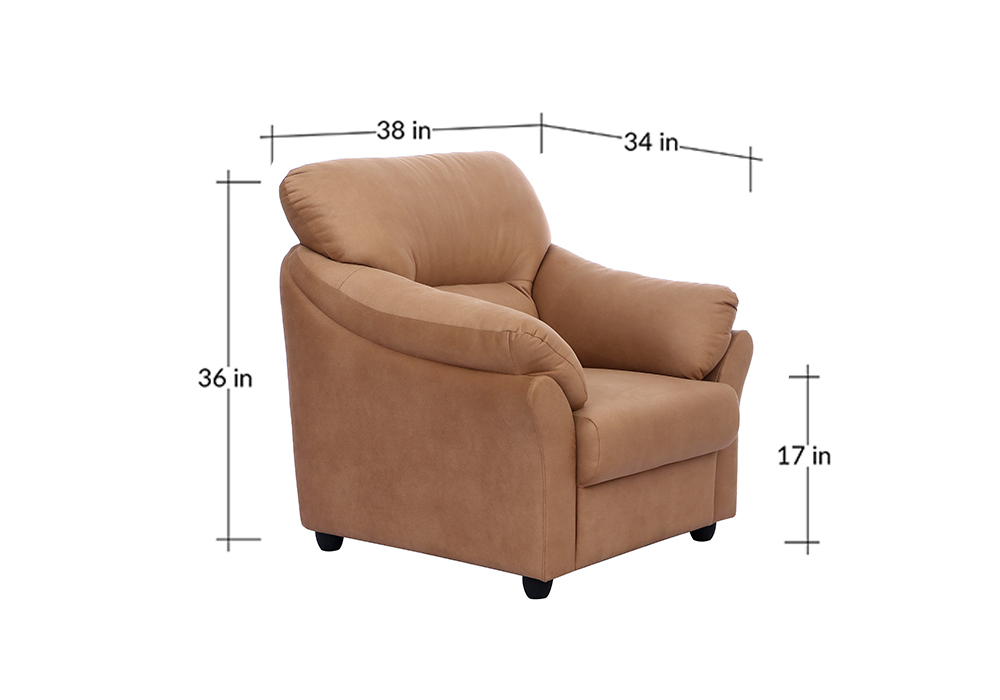 Bangkok single Seater Brown colour Sofa by Spns (dimensions)