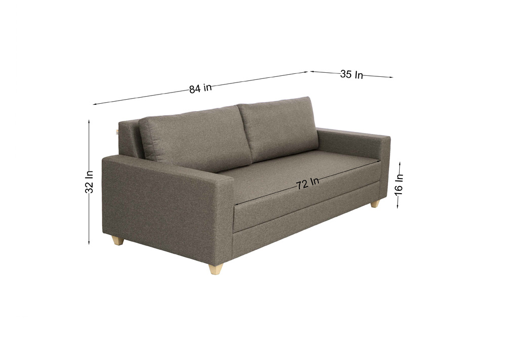 Butter cup three seater sofa-gray color-with diemensions