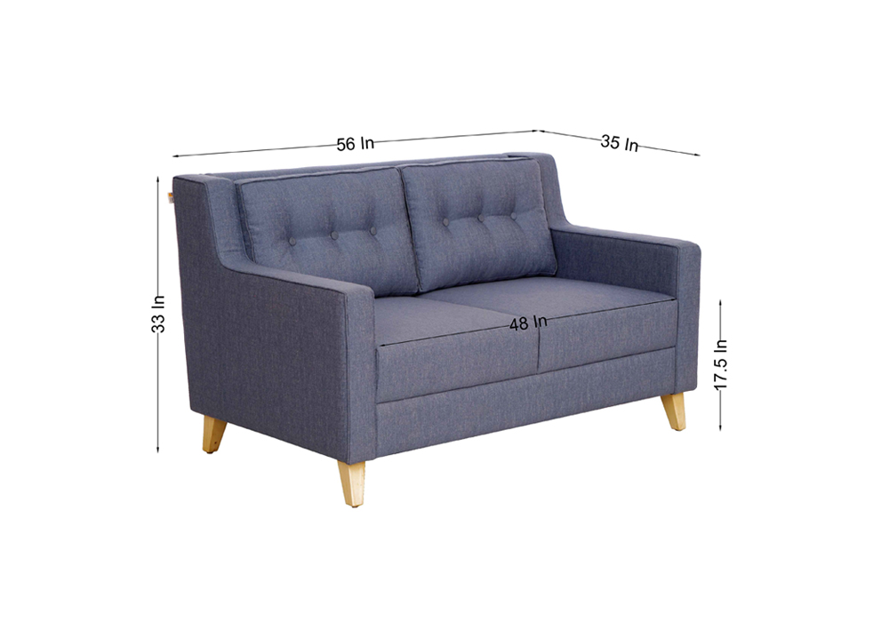 Diego 2 Seater Sofa in Denim Blue Colour by Spns (dimentions)