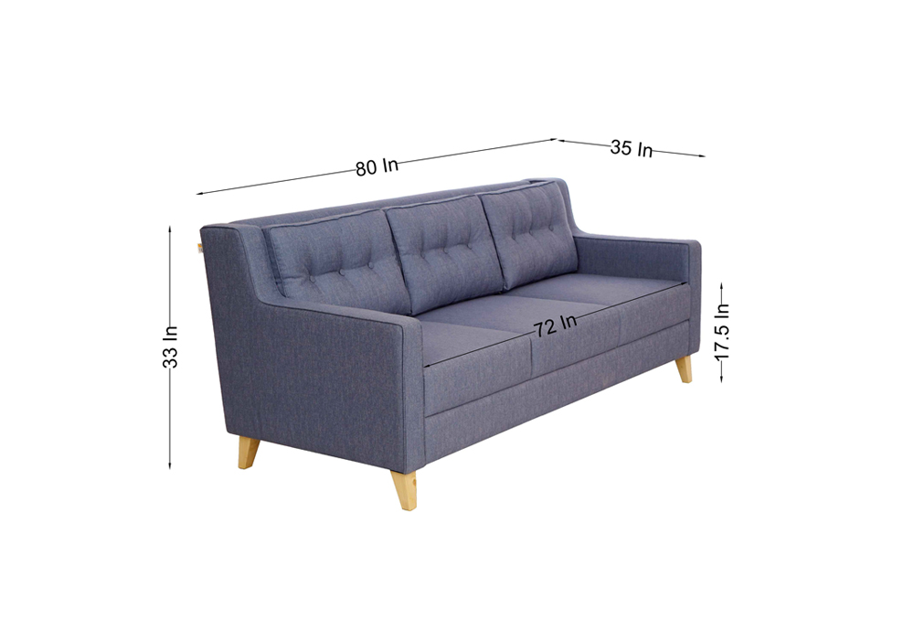 Diego 3 Seater Sofa in Denim Blue Colour by Spns (dimentions)