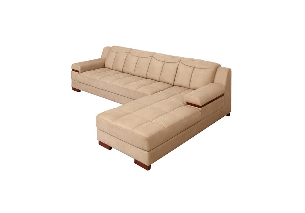 Galexy-lhs lounjer peach colour Sofa Set (side view)