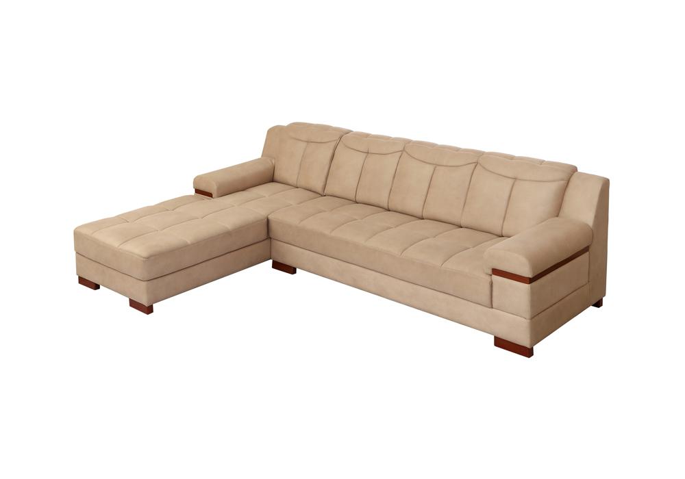 Galexy-rhs lounjer peach colour Sofa Set (right side view)