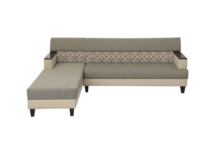 Larch Lounger RHS Sofa Dark Stone & Silver grey Colour by SPNS