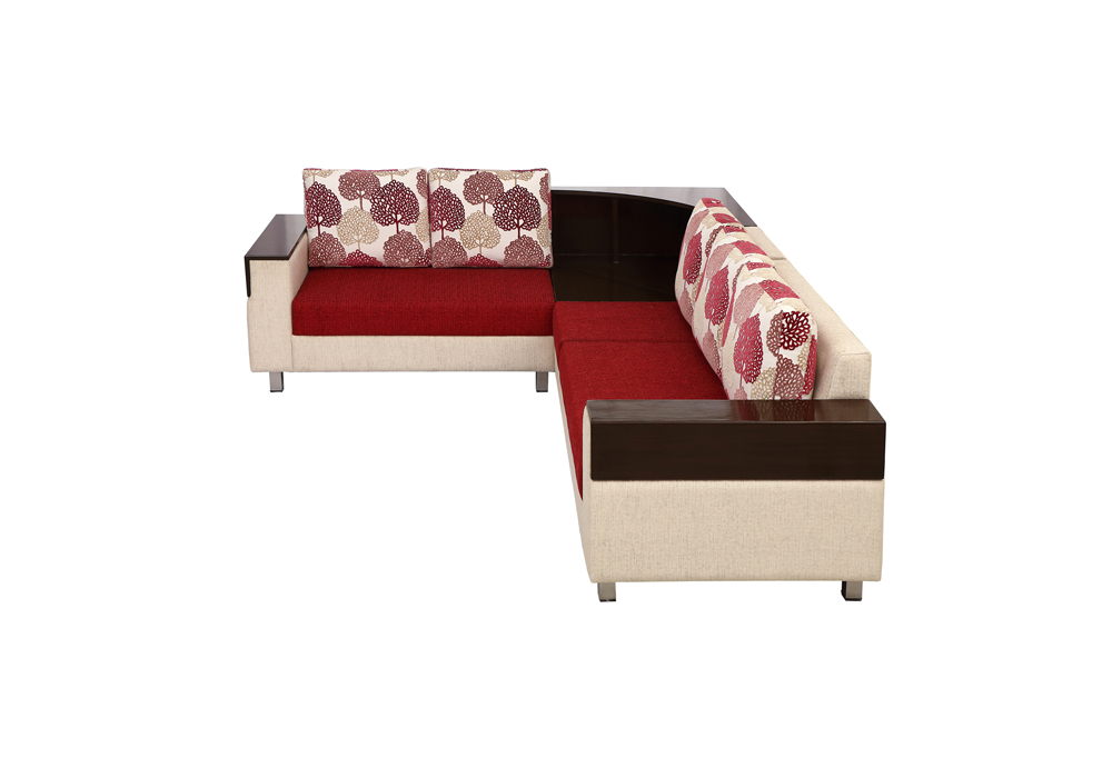 Load Corner 5 Seater red & brown Colour by Spns (left side view)