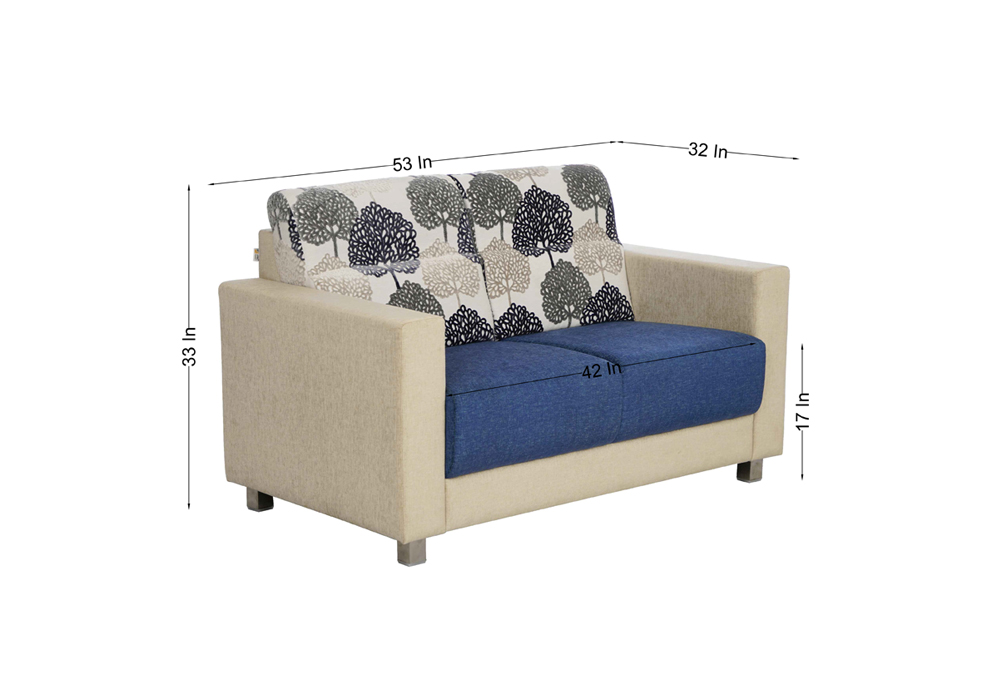 Maple 2 seater Sofa in Blue & Cream by SPNS (dimentions)