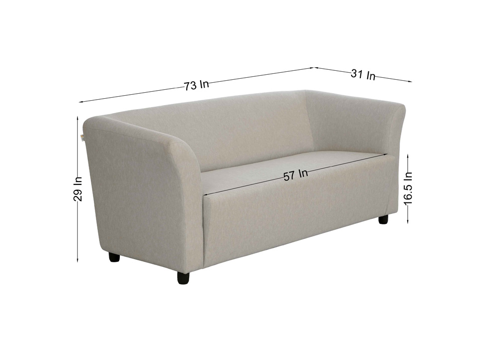 Paris three seater gray colour sofa by spns (dimentions)