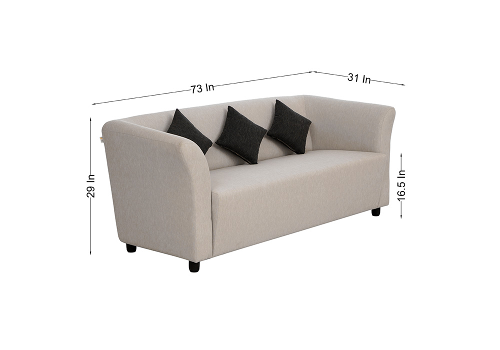 Paris three seater gray colour sofa by spns (side-view)