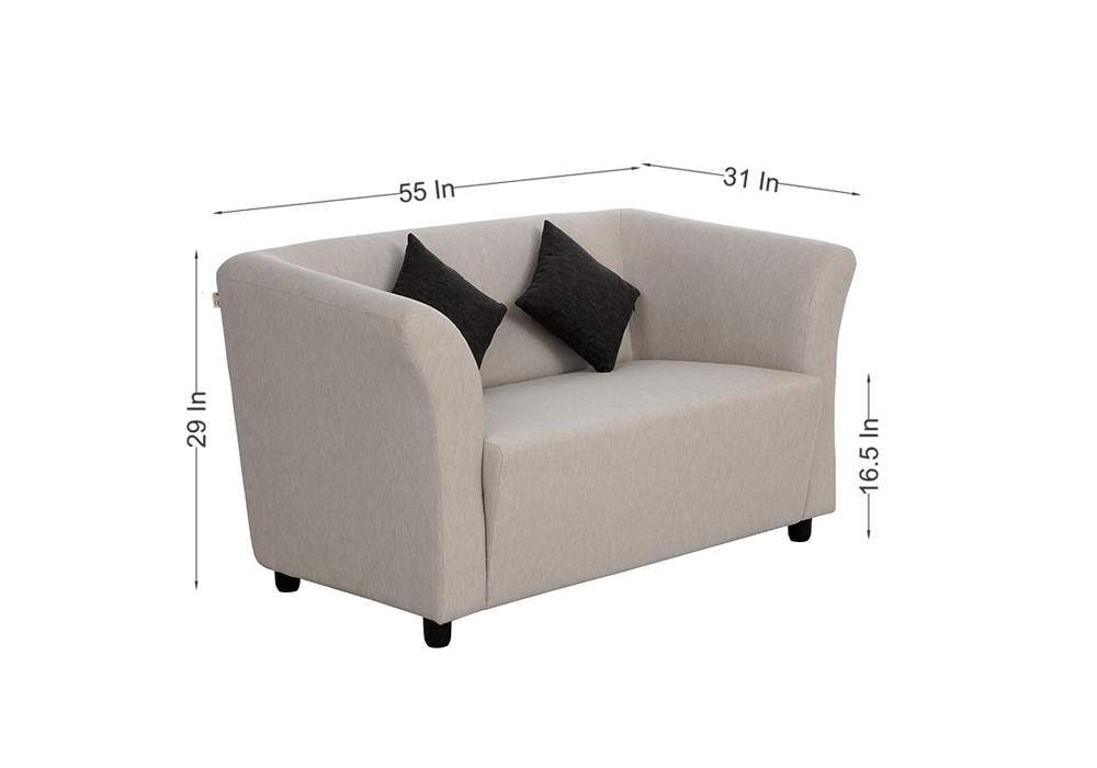 Paris two seater gray colour sofa by spns (side view)