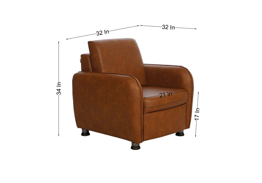 Saffron single seater coffee colour sofa by spns (dimentions)