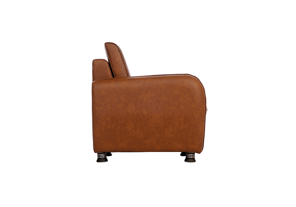 Saffron single seater coffee colour sofa by spns (left side view)