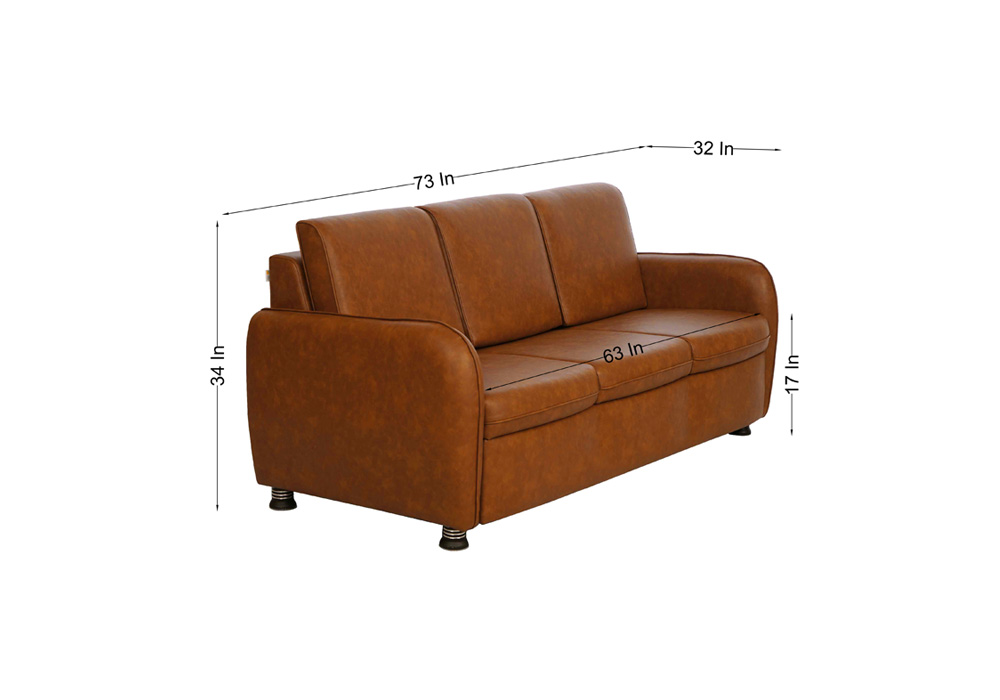 Saffron three seater coffee colour sofa by spns (dimentions)