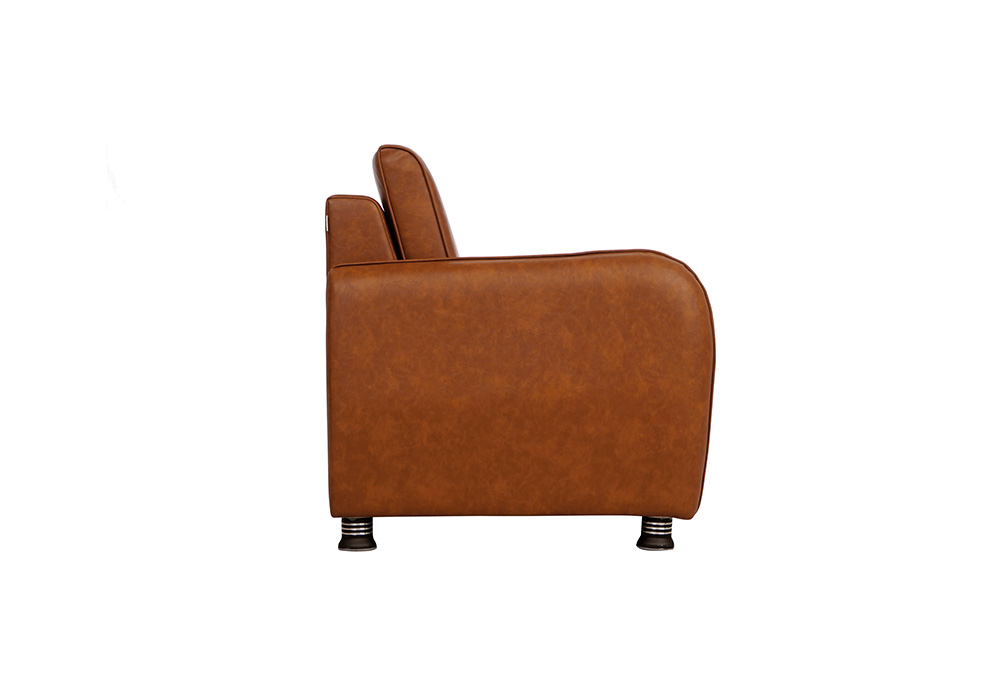 Saffron three seater coffee colour sofa by spns (left side view)