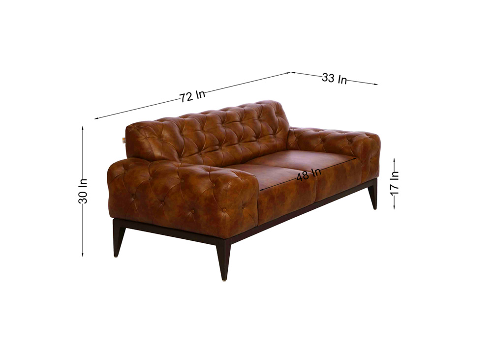 Tufted 2 seater dark brown colour couch by spns ( dimentions)