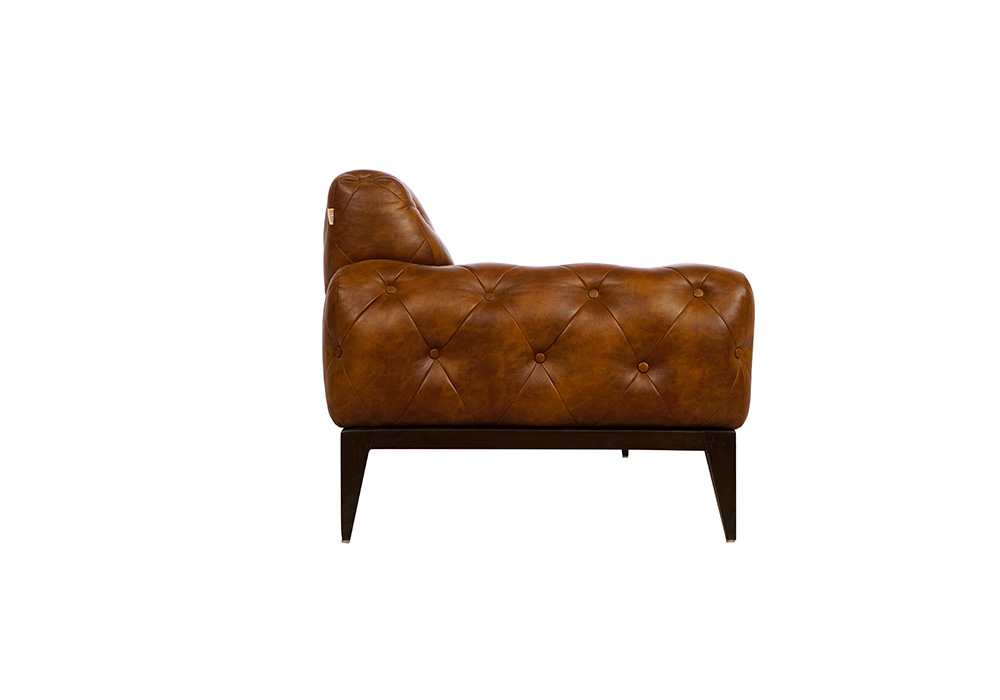 Tufted 2 seater dark brown colour couch by spns ( left side view)