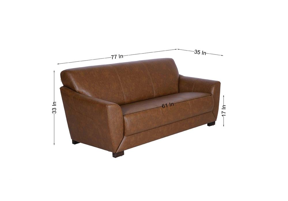 Woodarth Tulip Three Seater Chocolate colour Sofa (dimentions)