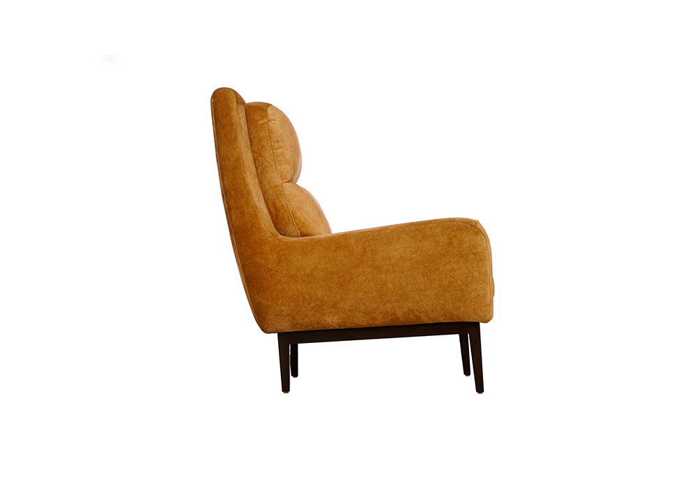 single seater mustered yellow colour sofa by spns (left side view)